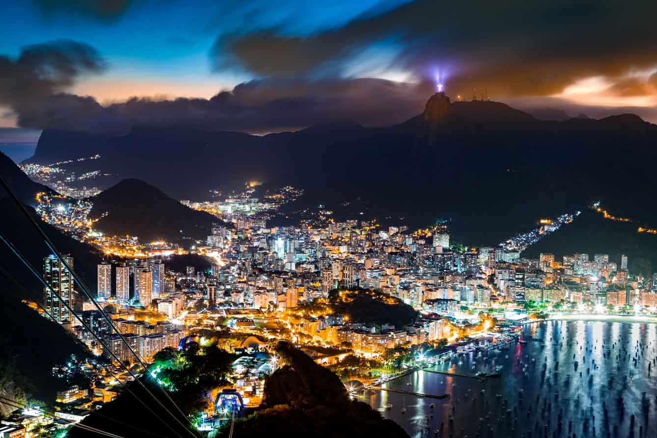 Aerial view over Rio de Janeiro on a hazy night, as viewed from Sugar Loaf peak.